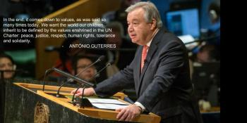 The ninth Secretary-General of the United Nations, António Guterres, addressed the General Assembly on 12 December 2016 after taking the oath of office, which was administered by Peter Thomson, President of the 71st session of the General Assembly. Image credit: UN Photo/Eskinder Debebe)