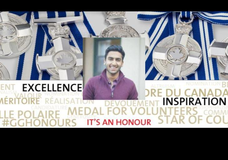 Bilaal Rajan receives Governor General of Canada's Meritorious Service Medal