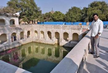 Spearheading conservation: IT Minister K.T. Rama Rao inspecting the renovated Badi Baoli within Qutb Shahi tombs complex in Hyderabad on Tuesday. | Photo Credit: Nagara Gopal/The Hindu