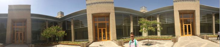 Panoramic view from the inside courtyard of the Ismaili Center, Dushanbe. (Image credit: Scott Goldstein)