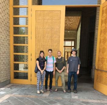 Scott and Desiree with friends at the entrance at of the Ismaili Center, Dushanbe - 1 of 5 skylights. (Image credit: Desiree Halpern)