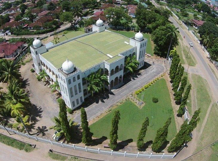 Aerial view of Ismaili Jamatkhana, Tanga, Tanzania