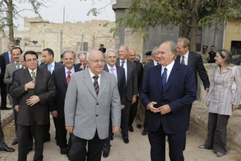 Mawlana Hazar Imam and Prime Minister Naji Al-Otri are accompanied by Prince Amyn and other leaders during a tour of Bab Qinnesrine in Aleppo, the site of a new urban park being developed by the Aga Khan Trust for Culture. Photo: Gary Otte/The Ismaili