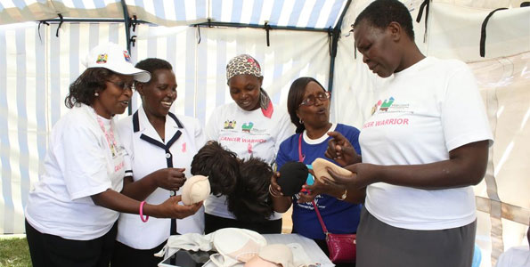Cancer survivors during the World Cancer Day at Dedan Kimathi Stadium in Nyeri last year. PHOTO JOSEPH KANYI /Business Daily Africa