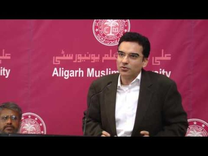 President Ismaili Council (India) Ashish Merchant speaks to the students of Aligarh University