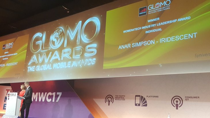 Anar Simpson receives GSMA Women4Tech - Glomo Awards