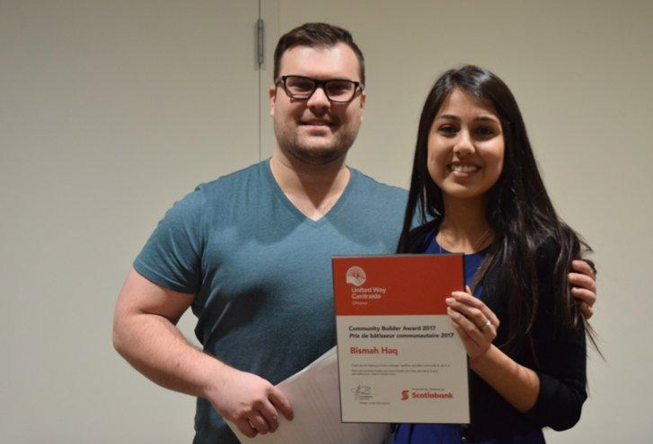 Bismah Haq receives Community Builder Award for Volunteer Work in Ottawa