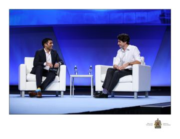 Canadian Prime Minister Justin Trudeau sits down with Daily Hive Editor-in-Chief Farhan Mohamed, at YPO Edge Business Conference