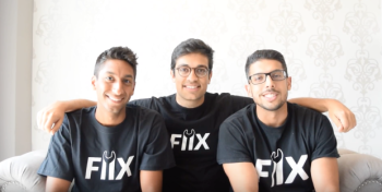 Fiix founders Khalil Mangali, far left, Zain Manji, centre, and Arif Bhanji believe auto repair shops will be obsolete in five years. (Fiix)