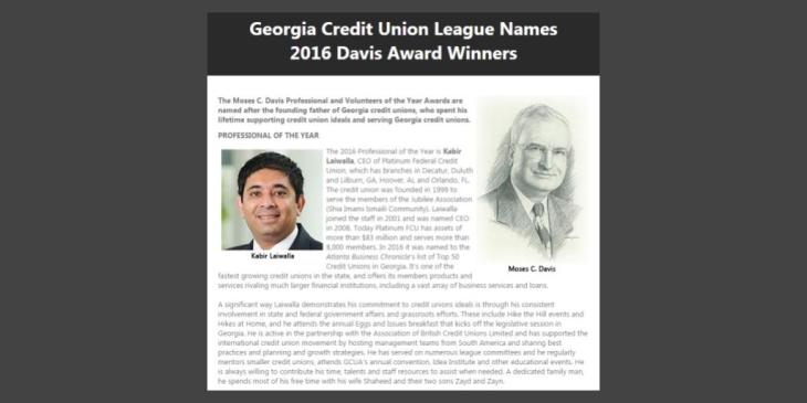 Kabir Laiwalla receives Moses C. Davis Professional of the Year Award 2016 from Georgia Credit Union League