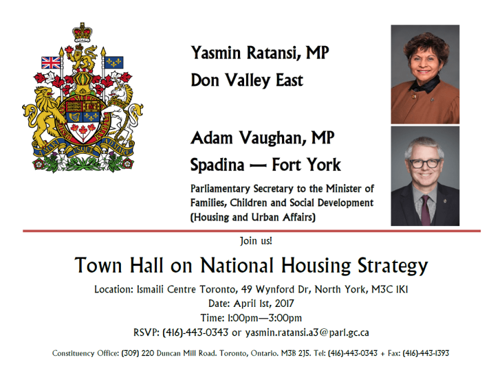 Yasmin Ratansi, MP, co-hosts forum on Canada's National Housing Strategy at the Ismaili Centre, Toronto, April 1, 2017