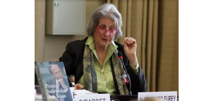 Remarks by Nicola Spafford Furey, Vice President of Earth Focus Foundation at the book launch of Prince Sadruddin Aga Khan's biography (Image credit: Anvar Nanji)