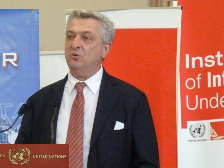 Opening remarks by UNHCR Chief Filippo Grandi at the book launch of Prince Sadruddin Aga Khan's biography (Image credit: Alan Golton)