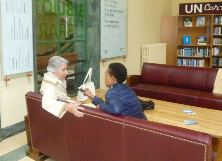 (R) Amal Ewida Kenawy, a Geneva based correspondent for an Egyptian newsweekly - Al-Ahram in conversation with (L) Diana Miserez, author of Prince Sadruddin Aga Khan: Humanitarian and Visionary at the UN Library Geneva (image credit: Natasha)
