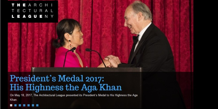League President Billie Tsien presentsHis Highness Prince Karim Aga Khan with the Architecture League's 2017 President's Medal. (Image credit: Architecture League New York)