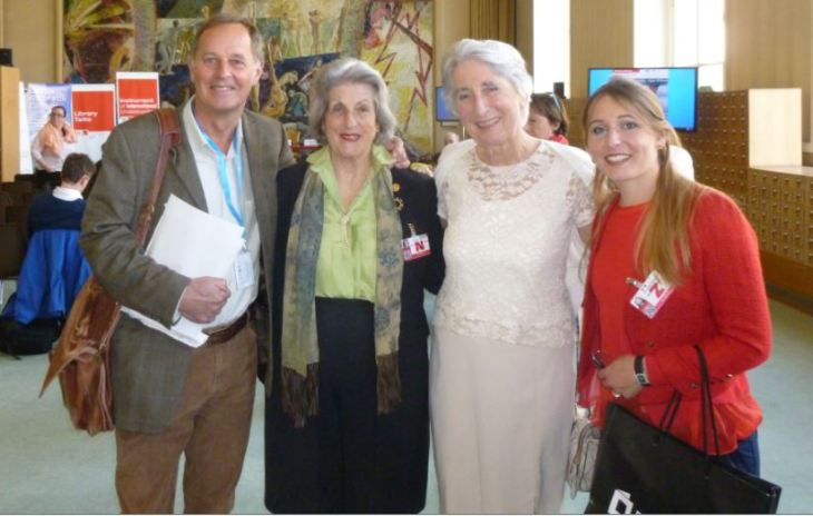 (L-R) Barry Gilbert-Miguet, Nicola Spafford Furey,  Diana Miserez and her daughter Claudia at the UN Library ahead of the book launch of Prince Sadruddin's biography (image credit: Natasha)