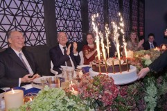 Members of Hazar Imam's family applaud as the birthday cake is presented to Mawlana Hazar Imam. Photo: The Ismaili/Zahur Ramji