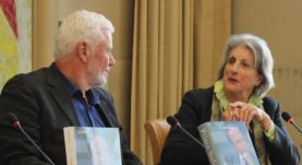 Nicola Spafford Furey in conversation with Edward Girardet during the panel discussions at the book launch of Prince Sadruddin Aga Khan: Humanitarian and Visionary (image credit: UN Library)