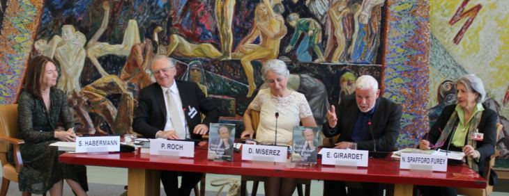 Edward Girardet with the fellow panelists during the panel discussions at the book launch of Prince Sadruddin Aga Khan: Humanitarian and Visionary (image credit: UN Library)