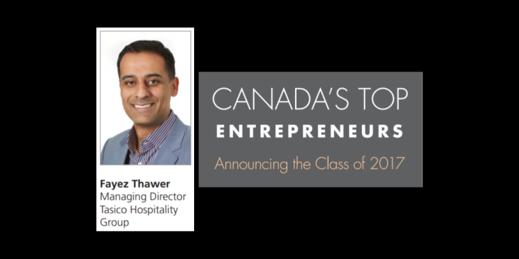 Fayez Thawer recognized as Canada's Top Entrepreneur - Class of 2017