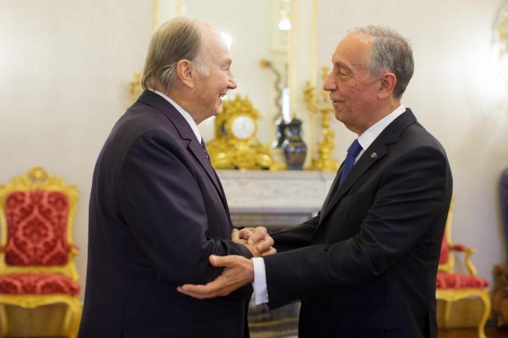 Hazar Imam with Portugal's President Marcelo Rebelo de Sousa