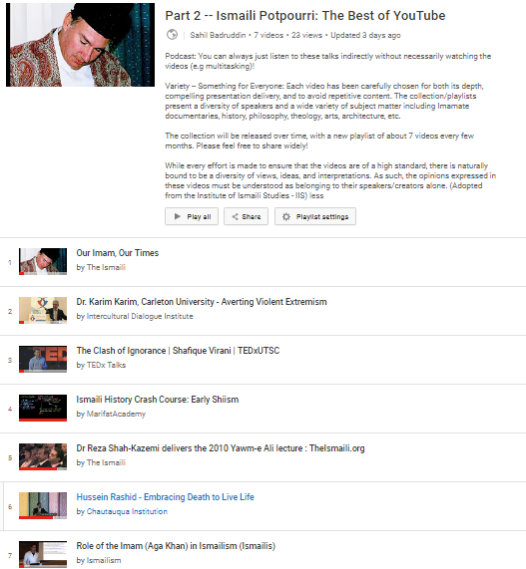 Part 2 Release: Ismaili Potpourri – Most Interesting and Credible Videos in Ismaili Studies