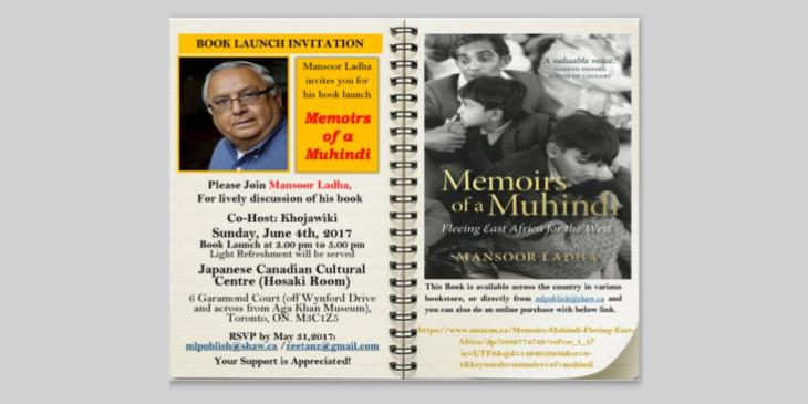 Book launch in Toronto: Mansoor Ladha's Memoirs of a Muhindi