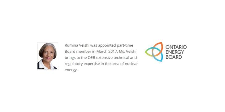 Rumina Velshi switches gears from the Federal Canadian Nuclear Safety Commission to the Provincial Ontario Energy Board