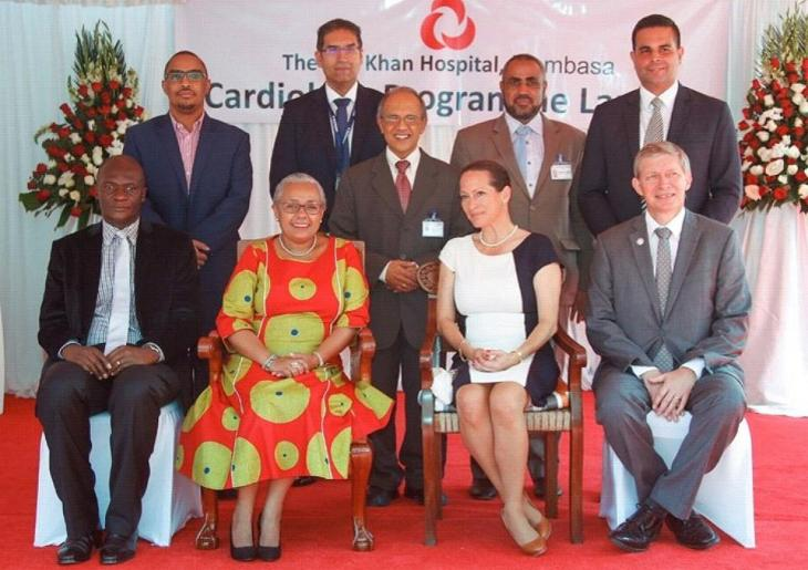 First Lady Margaret Kenyatta, cuts the ribbon to officially unveil the first Cath Lab in the Coast Region in the presence of Princess Zahra Aga Khan and staff from the Aga Khan Hospital Mombasa.