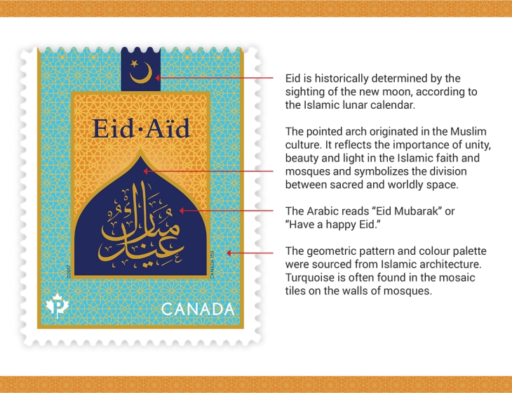 Eid stamp recognizes two festivals celebrated by Muslims in Canada and worldwide