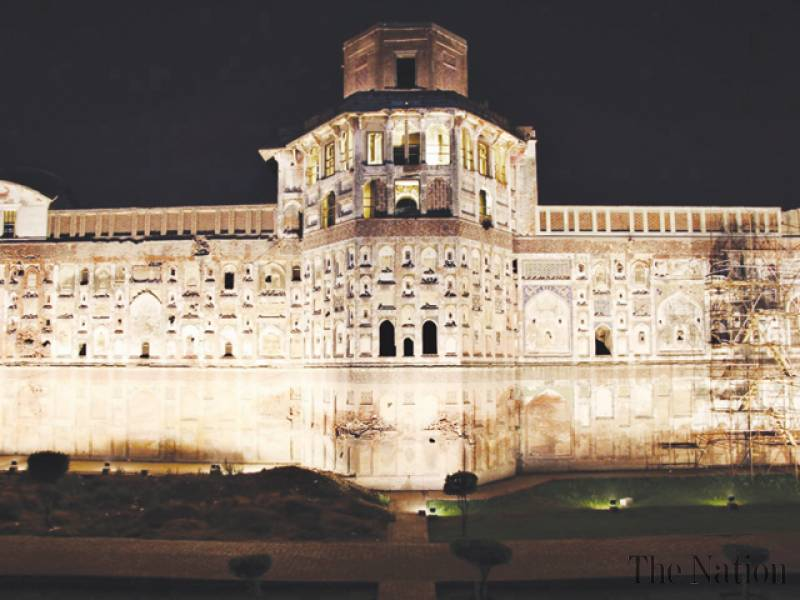Illumination of Lahore Fort's picture wall