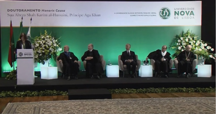 Siting from left to right: Patron of the Doctorate, Francisco Pinto Balsemão; His Highness Prince Karim Aga Khan, His Excellency President Professor Marcelo Rebelo de Sousa; Rector of the NOVA University, Professor António Rendas; and President of the NOVA University's General Council, Professor Arantes e Oliveira (image via screen print during the live webcast)