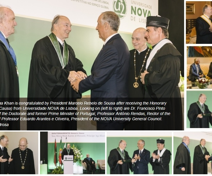 His Highness Prince Karim Aga Khan is congratulated by Portugal's President, His Excellency Marcelo Rebelo de Sousa after receiving the Honorary Doctorate (Honoris Causa) from Universidade NOVA de Lisboa. Looking on (left to right) are Dr. Francisco Pinto Balsemão, Patron of the Doctorate and former Prime Minister of Portugal, Professor António Rendas, Rector of the Nova University and Professor Eduardo Arantes e Oliveira, President of the NOVA University General Council. (image credit: AKDN / Antonio Pedrosa)