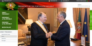 President of the Portuguese Republic, His Excellency Marcelo Rebelo de Sousa bestows His Highness Prince Karim Aga Khan with one of the country's highest honours – the Grã-Cruz da Ordem da Liberdade (Grand Cross of the Order of Liberty), in recognition of his service to humanity. The invesure ceremony took place at Palácio de Belém, the official residence of the President of the Republic (image credit: Presidencia.pt)