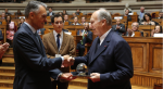 His Highness Prince Karim Aga Khan IV is presented with the 2013 North-South Prize by the President of Portugal, Aníbal Cavaco Silva, Lisbon, Portugal, 12 June 2014. (image credit: AKDN / José Manuel Boavida Caria)