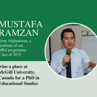 Mustafa Ramazan Habibi granted Grad Excellence Award in Integrated Studies in Education for PhD at McGill