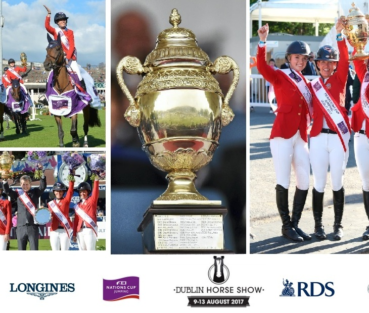 The all-female American team celebrate after winning the coveted the Aga Khan Trophy (center image) at the Dublin Horse Show.
