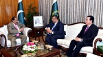 APP38-16 ISLAMABAD: August 16 - President of Aga Khan Council for Pakistan, Hafiz Sherali called on President Mamnoon Hussain at the Aiwan-e-Sadr. APP