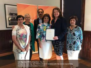 Founded By Rossbina Nathoo, FOCUS On Seniors Recognized For Service To The Community