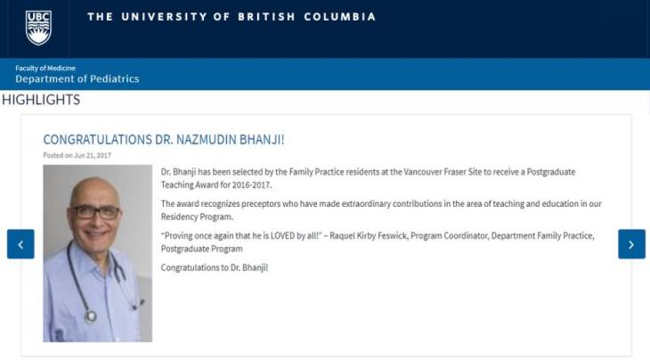 Dr. Nazmudin Bhanji receives postgraduate teaching award | The University of British Columbia, Department of Pediatrics
