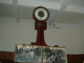 The scale used during Late Mawlana Sultan Muhammad Shah's Diamond Jubilee Celebrations in Dar es Salaam on August 10, 1946 (with 2 pictures of the historical event) displayed in the Jamatkhana