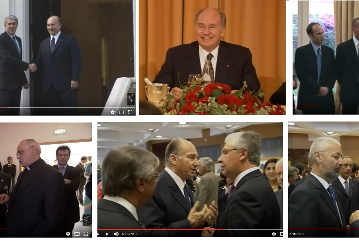 His Highness Prince Karim Aga Khan meeting with Portuguese President (top left) and other high ranking government and Catholic church officials (bottom 3 photos). Members of His Highness's family (top right) l-r: sons - Prince Hussain and Prince Rahim, brother - Prince Amyn.