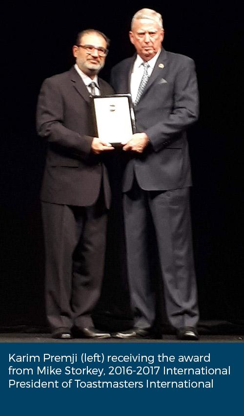 Karim Premji receives Toastmasters International Education and Leadership Award