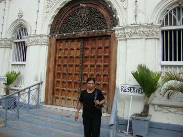 Author's wife Zarina at the main entrance of Kuze Jamatkhana