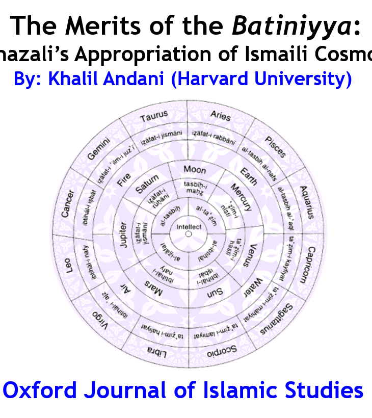 New Publication: Al-Ghazālī's Appropriation of Ismaʿili Cosmology by Khalil Andani
