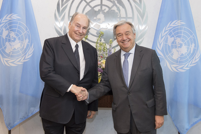 United Nations Photo: Secretary-General António Guterres meets with Prince Karim Aga Khan, Founder and Chairman of the Aga Khan Development Network