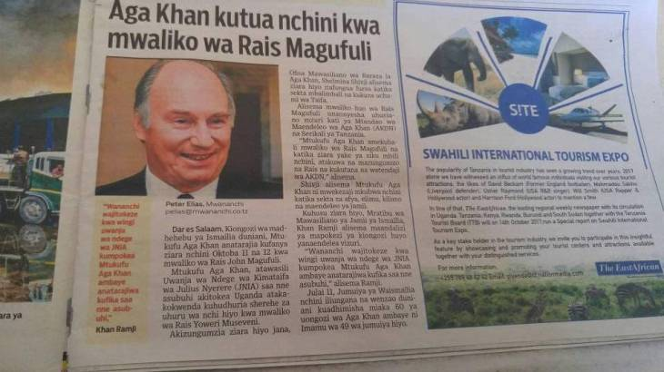 Tanzania: His Highness the Aga Khan due in the country tomorrow