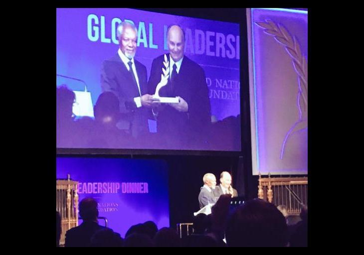 His Highness the Aga Khan receives UN Foundation's Global Change Award from former Secretary General Kofi Anan