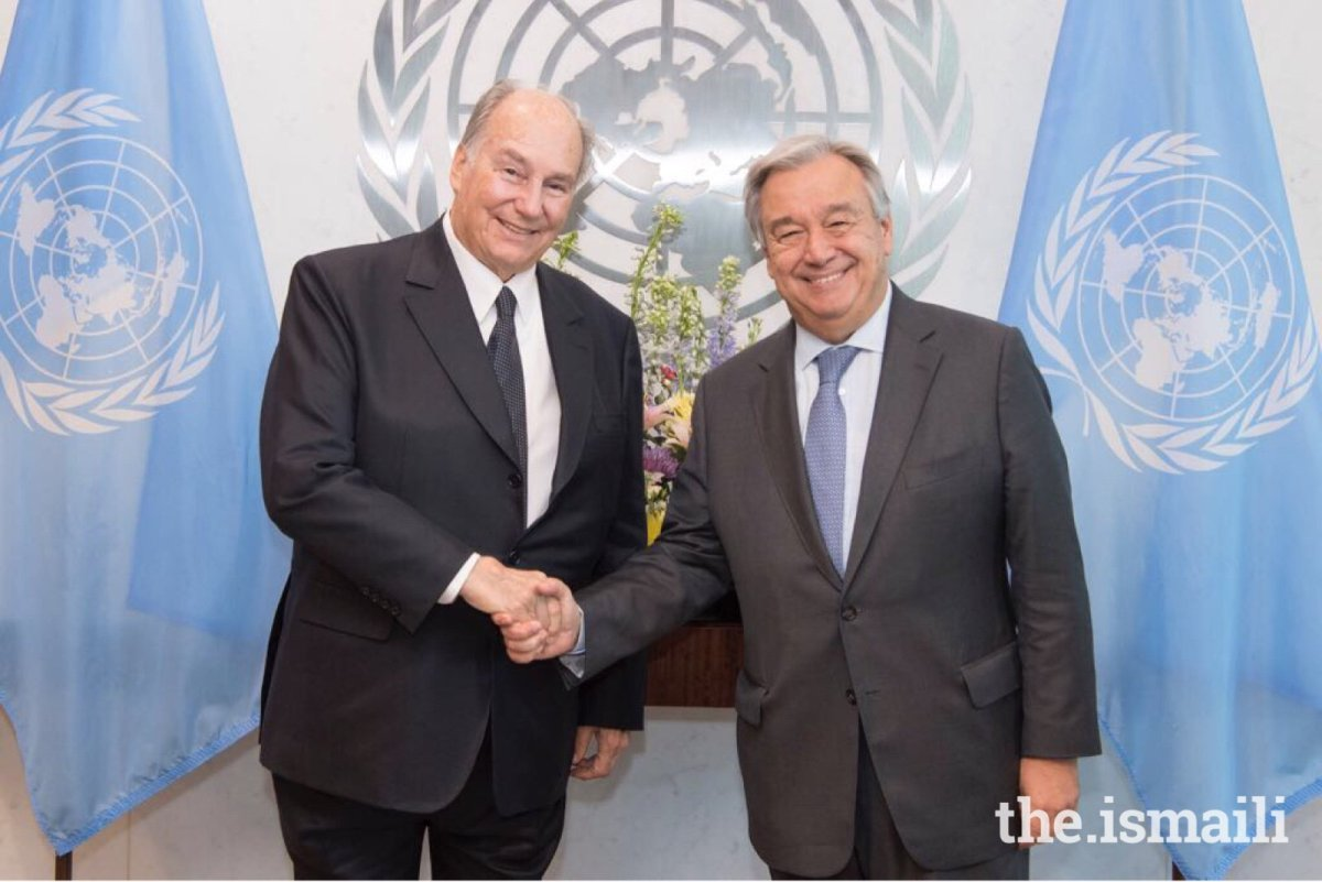 His Highness the Aga Khan with United Nations Secretary General António Guterres