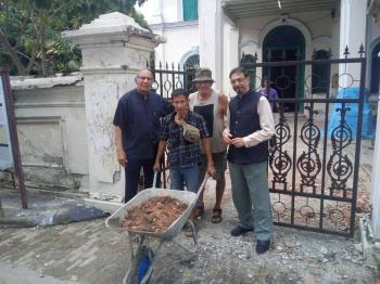 Anwar Fazal and Mohamed keshavjee outside the Arab House in Penang which is being restored with support from the AKTC